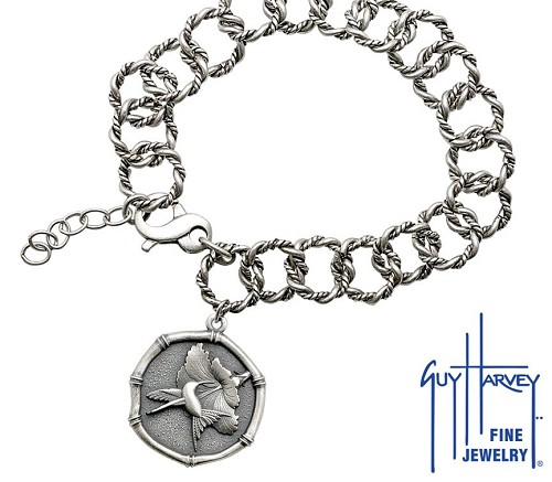Guy Harvey Hummingbird Sterling Silver on Rope Link Bracelet Relic Finish 25mm Sterling Silver