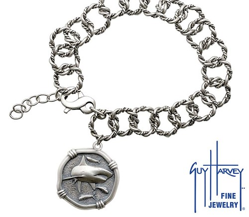 Guy Harvey Shark on Rope Link Bracelet Relic Finish 25mm Sterling Silver