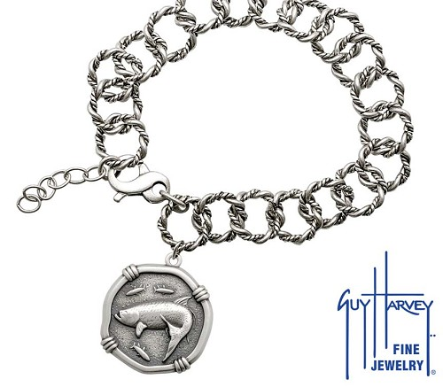 Guy Harvey Tarpon on Rope Link Bracelet Relic Finish 25mm Sterling Silver
