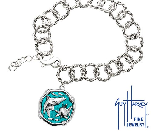 Guy Harvey Snook on Rope Link Bracelet Cayman Green Enamel Bright Finish 25mm Sterling Silver