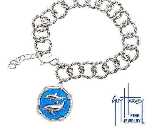 Guy Harvey Porpoises on Rope Link Bracelet Caribbean Blue Enamel Bright Finish 25mm Sterling Silver