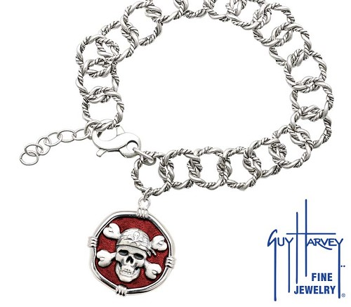 Guy Harvey Pirate on Rope Link Bracelet Red Enamel Bright Finish 25mm Sterling Silver