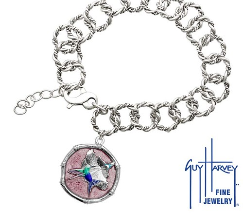Guy Harvey Hummingbird Sterling Silver on Rope Link Bracelet Full Color Pink Enamel