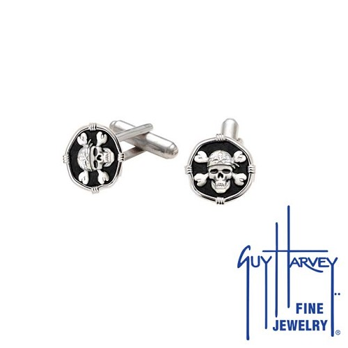 Guy Harvey Pirate Cufflinks Black Enamel 15mm Sterling Silver