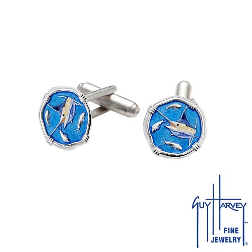 Guy Harvey Marlin Cufflinks Full Color Enamel Medium Size Sterling Silver