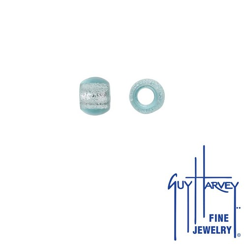 Two Aqua Blue Sparkle Trophy Slide Glass Accent Beads