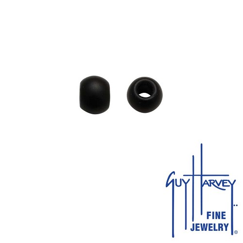 Two Jet Black Matte Trophy Slide Glass Accent Beads