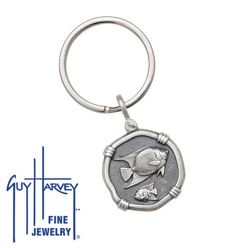 Guy Harvey Angelfish Keyring Relic Finish 25mm Sterling Silver