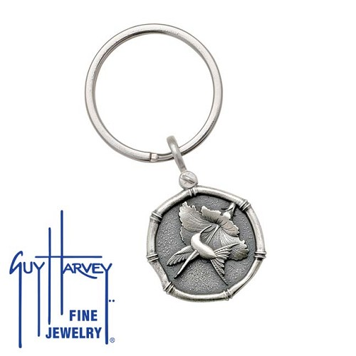 Guy Harvey Hummingbird Sterling Silver Keyring Relic Finish 25mm Sterling Silver