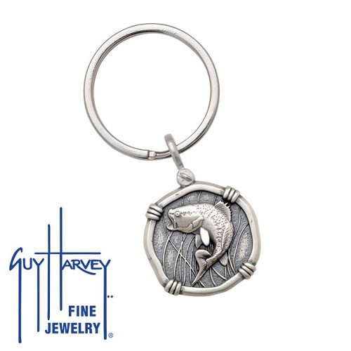 Guy Harvey Bass Keyring Relic Finish 25mm Sterling Silver