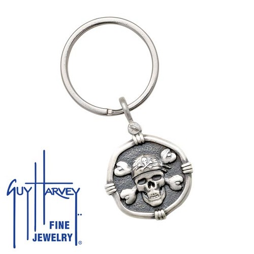 Guy Harvey Pirate Keyring Relic Finish 25mm Sterling Silver