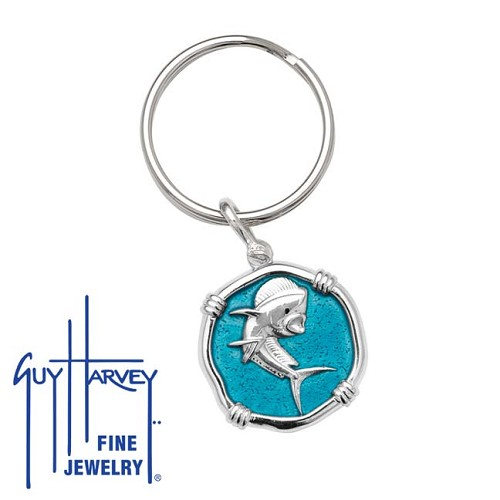 Guy Harvey Dolphin Keyring Cayman Green Enamel Bright Finish 25mm Sterling Silver
