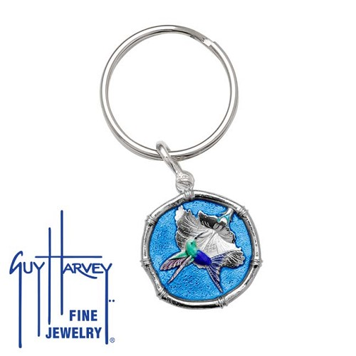 Guy Harvey Hummingbird Sterling Silver Keyring Full Color Blue Enamel 25mm Sterling Silver