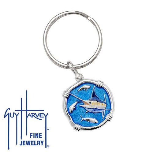 Guy Harvey Marlin Keyring Full Color Enamel Bright Finish 25mm Sterling Silver