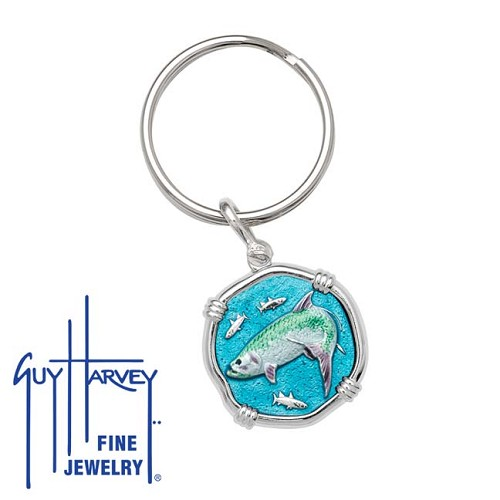 Guy Harvey Tarpon Keyring Full Color Enamel Bright Finish 25mm Sterling Silver