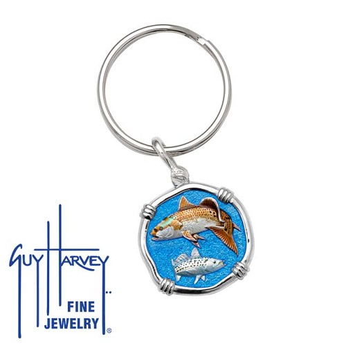 Guy Harvey Redfish & Trout Keyring Full Color Enamel Bright Finish 25mm Sterling Silver