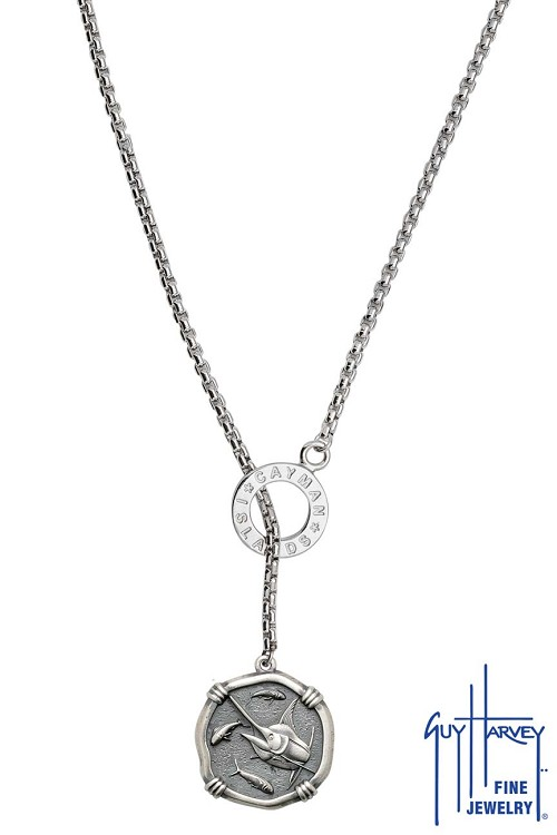 Guy Harvey Medium size Sterling Silver Marlin Necklace with Sterling Silver Lariat Style Box Chain