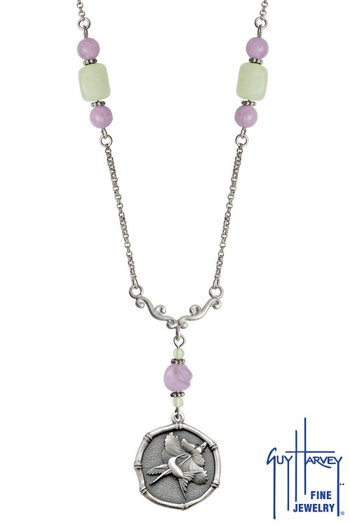 Hummingbird Sterling Silver on Lavender & Green Quartz Necklace Relic Finish 25mm Sterling Silver