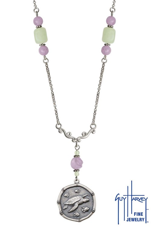 Sea Turtle on Lavender & Green Quartz Necklace Relic Finish 25mm Sterling Silver