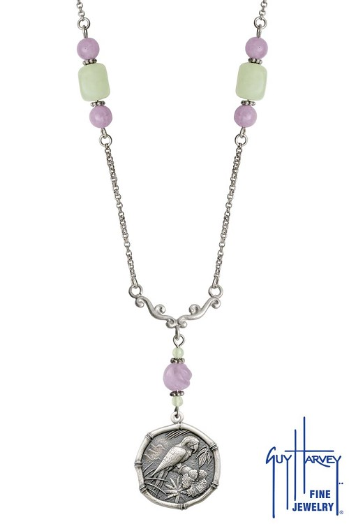 Macaw on Lavender & Green Quartz Necklace Relic Finish 25mm Sterling Silver