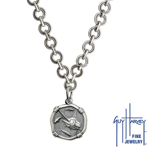 Medium size Sterling Silver Marlin Necklace with Sterling Silver Circle Chain