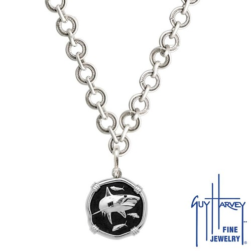 Shark on Circle Necklace Black Enamel Bright Finish 25mm Sterling Silver