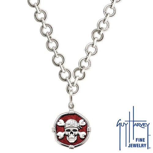 Pirate on Circle Necklace Red Enamel Bright Finish 25mm Sterling Silver