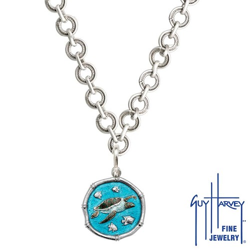 Sea Turtle on Circle Necklace Full Color Enamel Bright Finish 25mm Sterling Silver