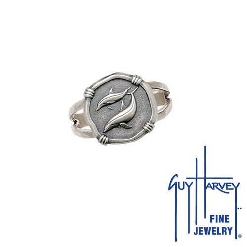 Guy Harvey Porpoises Ring Relic Finish 15mm Sterling Silver