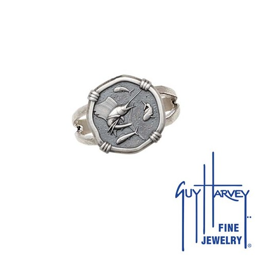 Guy Harvey Sailfish Ring Relic Finish 15mm Sterling Silver