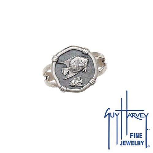 Guy Harvey Angelfish Ring Relic Finish 15mm Sterling Silver