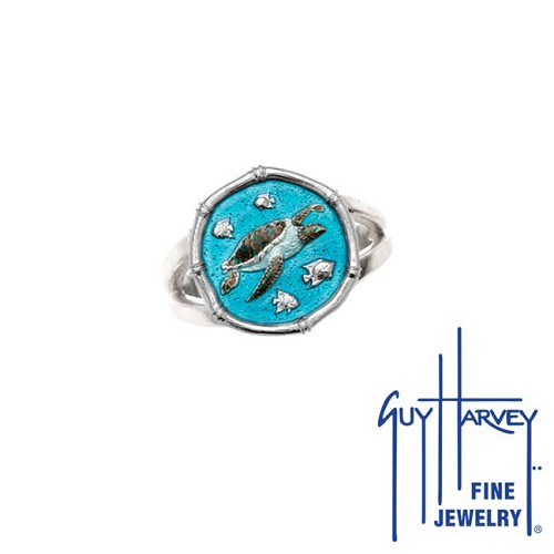 Guy Harvey Sea Turtle Ring Full Color Enamel Bright Finish 15mm Sterling Silver