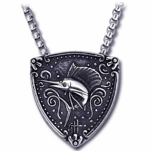 Guy Harvey Sterling Silver Sailfish Trillion Medallion