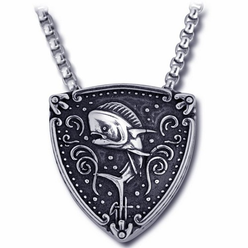 Guy Harvey Sterling Silver Dolphinfish Trillion Medallion
