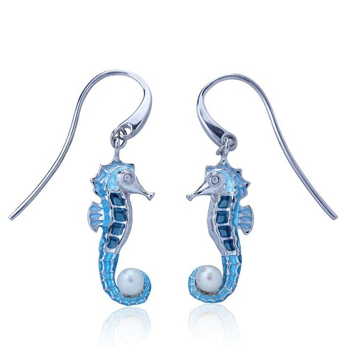Guy Harvey Seahorse Earrings - Enameled and Crafted in Sterling Silver