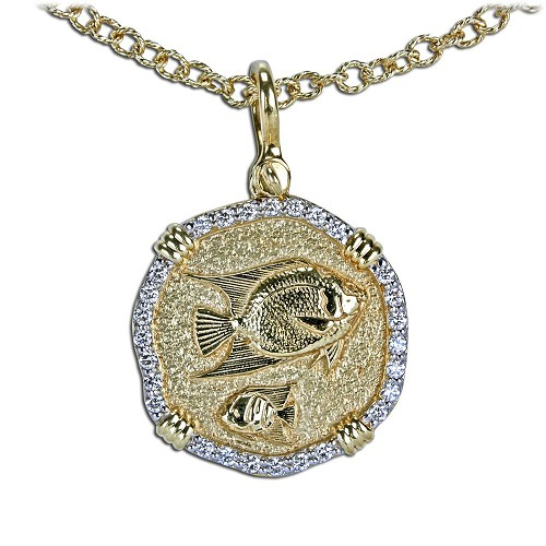Guy Harvey 18K Gold and Diamond Angelfish Necklace