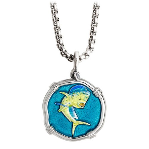 Guy Harvey Medium Full Color enameled Sterling Silver Dolphin Necklace with Stainless Steel Chain