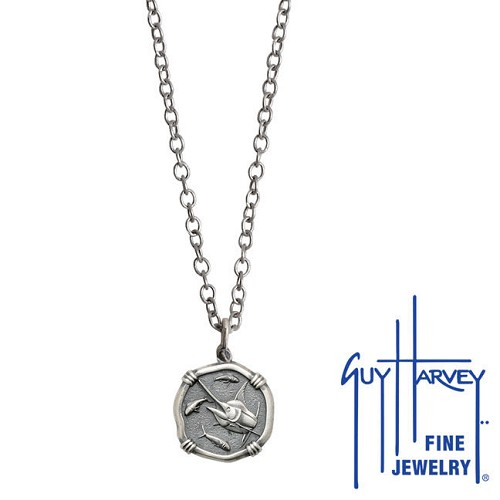 Guy Harvey Petite size Sterling Silver Marlin Necklace with Stainless Steel Link Chain