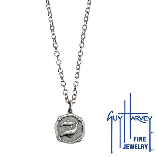 Guy Harvey Petite size Sterling Silver Porpoises Necklace with Stainless Steel Link Chain