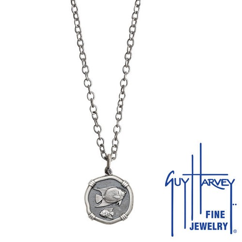 Guy Harvey Petite size Sterling Silver Angelfish Necklace with Stainless Steel Link Chain