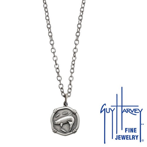 Guy Harvey Petite size Sterling Silver Tarpon Necklace with Stainless Steel Link Chain