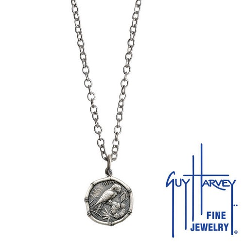 Guy Harvey Petite size Sterling Silver Macaw Necklace with Stainless Steel Link Chain