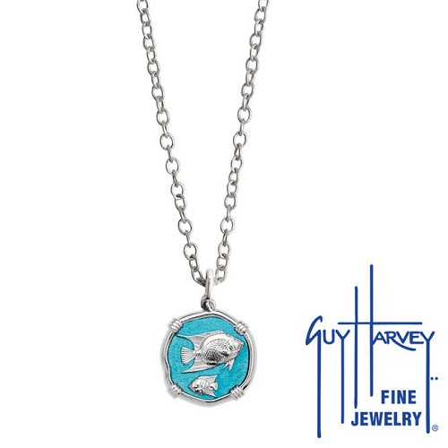 Guy Harvey Petite Cayman Green enameled Sterling Silver Angelfish Necklace - Stainless Steel Chain