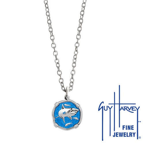 Guy Harvey Petite Caribbean Blue enameled Sterling Silver Shark Necklace - Stainless Steel Chain