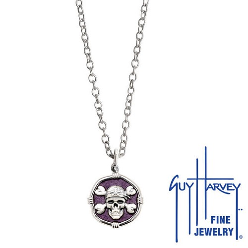 Guy Harvey Petite size Purple enameled Sterling Silver Pirate Necklace with Stainless Steel Chain