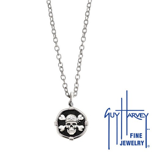 Guy Harvey Petite size Black enameled Sterling Silver Pirate Necklace with Stainless Steel Chain