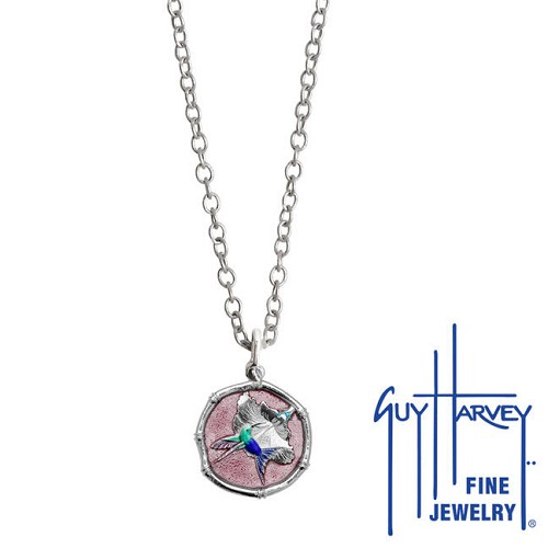 Guy Harvey Petite Pink Enamel Sterling Silver Hummingbird Necklace - Stainless Steel Chain
