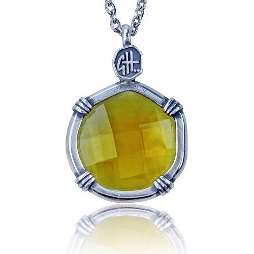 Guy Harvey Lab Created Yellow Citrine Sea Prism Necklace.