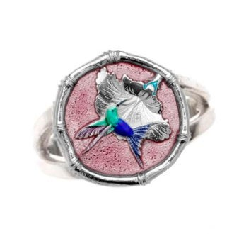Guy Harvey Hummingbird Ring Full Color Enamel Bright Finish 15mm Sterling Silver