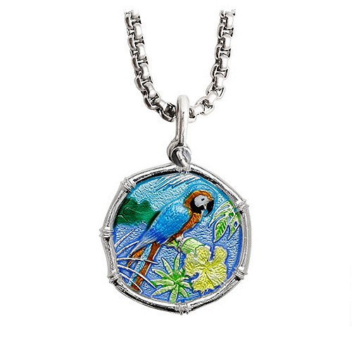 Guy Harvey Medium Full Color enameled Sterling Silver Macaw Necklace with Stainless Steel Box Chain